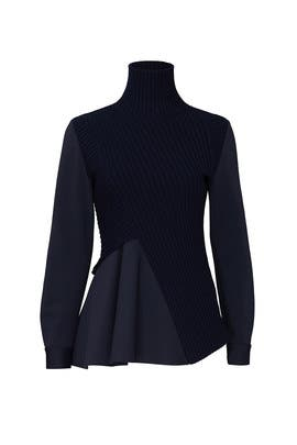 Navy Combo Turtleneck Sweater by MARYLING