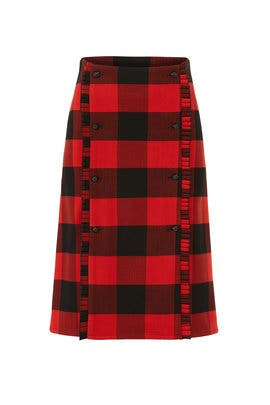 Red Plaid Button Skirt by Scotch & Soda