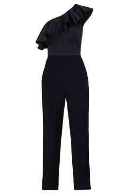 Black Ruffle Shoulder Jumpsuit by Cynthia Rowley