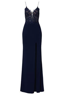 Navy Lace Bodice Gown by FAVIANA