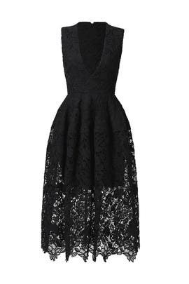 Black Mosaic Lace Ball Dress by Nicholas