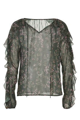 Sheer Green Floral Blouse by Slate & Willow