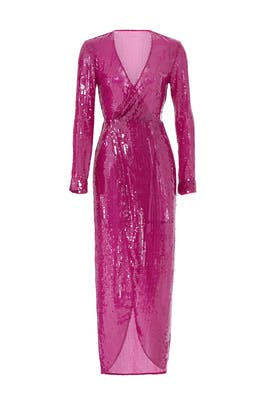 Pink Long Sequin Wrap Dress by Fleur du Mal