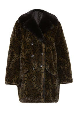 Faux Fur Leopard Oversize Coat by The Kooples