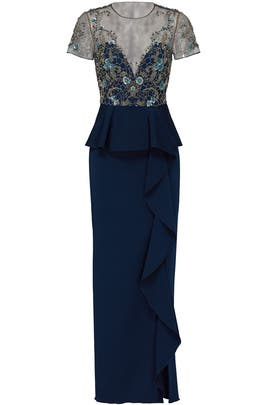 Navy Lace Ruffle Gown by Marchesa Notte