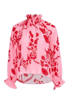Floral Balloon Sleeve Top by Cynthia Rowley