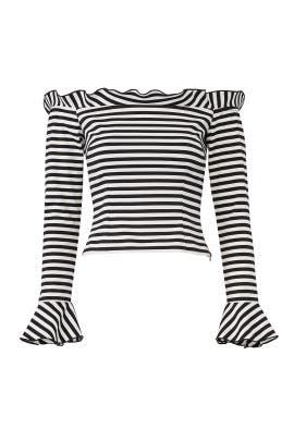 Stripe Off Shoulder Top by Nicholas