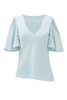 Powder Blue Open Shoulder Blouse by DEREK LAM