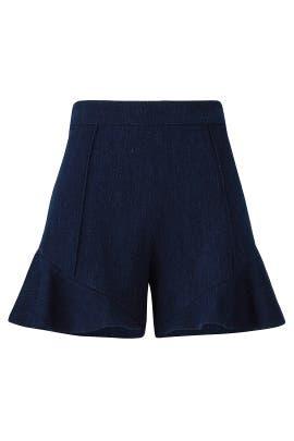 Denim Ruffle Hem Shorts by Josie Natori