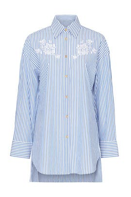 Embroidered Long Shirt by Coach
