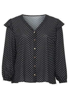 Polka Dot Ruffle Sleeve Blouse by Draper James X ELOQUII