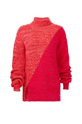 Red Bicolor Turtleneck Sweater by Derek Lam 10 Crosby