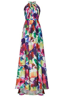 Printed Halter Gown by Love by Theia