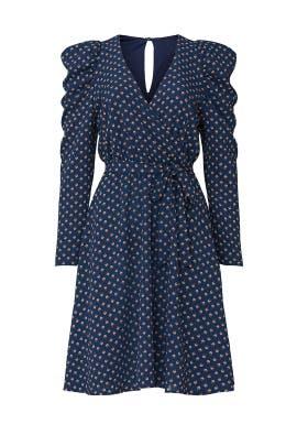 Long Puff Sleeve Surplice Dress by Slate & Willow