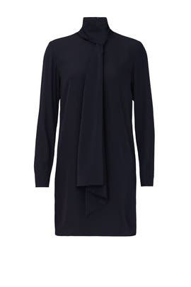Navy Tie Neck Shift Dress by Tibi