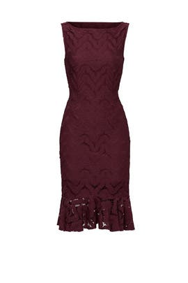 Wine Ruffle Lace Dress by twenty