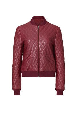 Red Leather Quilted Bomber by Nicole Miller