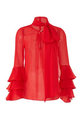 Red Sheer Bell Sleeve Blouse by Prabal Gurung Collective