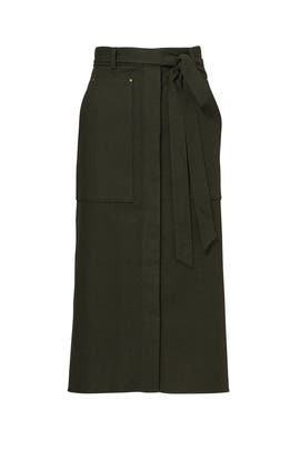 Green Owen Twill A-Line Skirt  by Tibi
