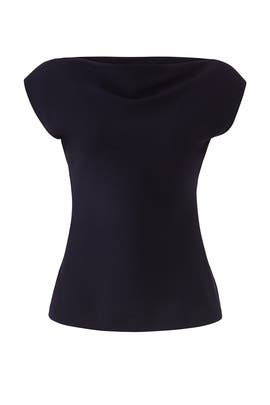 Navy Draped Boat Neck Top by Theory
