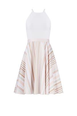 White Neutral Stripe Halter Dress by Badgley Mischka