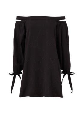 Black Crepe Off Shoulder Dress by Endless Rose