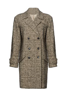 Champagne Oversized Double Breasted Coat by Halston Heritage