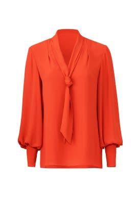 Orange Tie Neck Top by Josie Natori