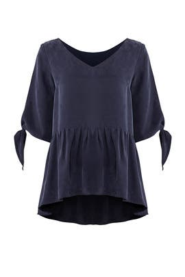 Navy Tie Cuff Blouse by Paper Crown