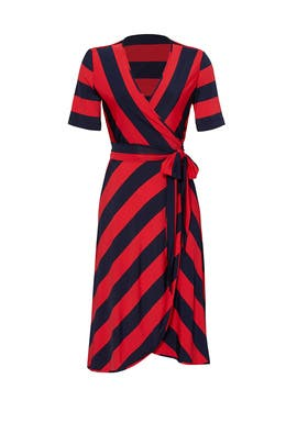 Red Striped Sara Dress by Tory Burch