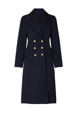 Navy Twill Double Breasted Coat by Victor Alfaro Collective
