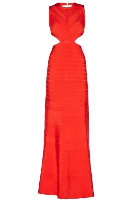 Red Cassandra Signature Essentials Gown by Hervé Léger