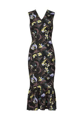 Floral Ruffle Hem Sheath by Suno