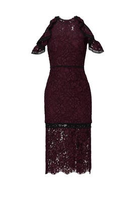 Burgundy Open Shoulder Evie Dress by Alexis