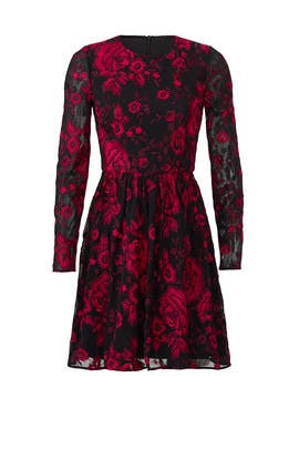 Red Floral Embroidered Dress by Badgley Mischka