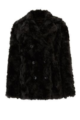 Black Faux Fur Monochrome Coat by The Kooples