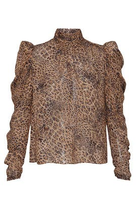 Sheer Leopard Puff Sleeve Top by ML Monique Lhuillier