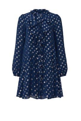 Navy Dot Tilly Ruffle Dress by SALONI