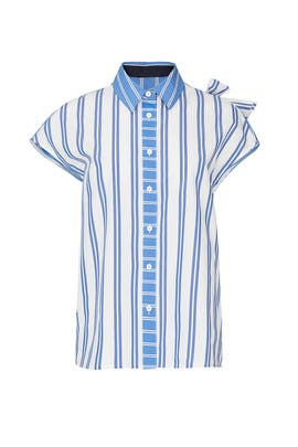 Striped Sleeveless Button Down by SJYP