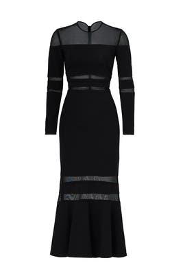 Black Illusion Trumpet Dress by Nicole Miller