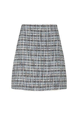 Blue Tweed Skirt by Adam Lippes Collective
