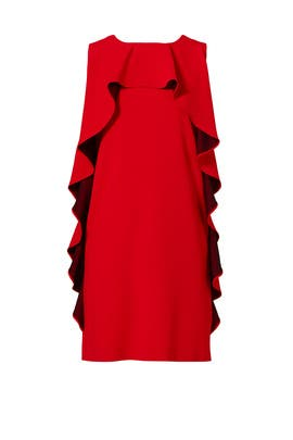 Red Ruffle Shift Dress by BOUTIQUE MOSCHINO