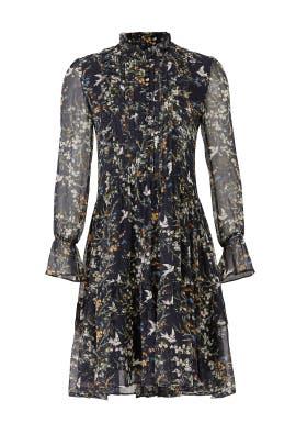 Navy Bird Printed Dress by The Kooples