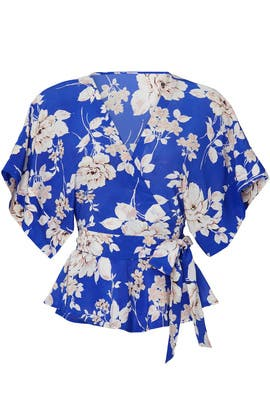 Blue Floral That's A Wrap Top by Yumi Kim