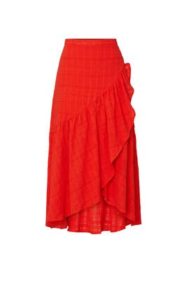 Red Ruffle Skirt by Love, Whit by Whitney Port