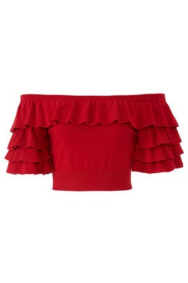 Red Anton Ruffled Crop Top by Marissa Webb