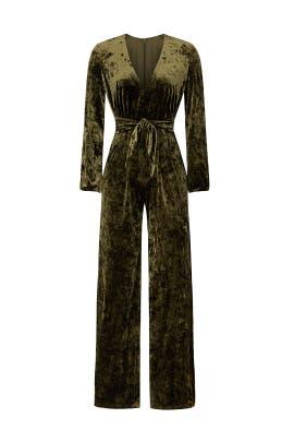Olive Velvet Leila Jumpsuit by STYLESTALKER