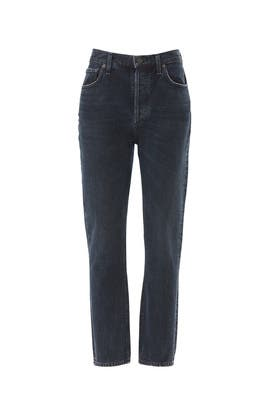 Dark Blue Riley Jeans by AGOLDE