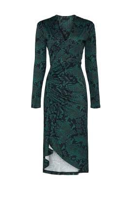Green Snake Print Dress by Atlein