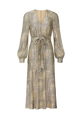 Gold Pleated Midi Dress by Badgley Mischka